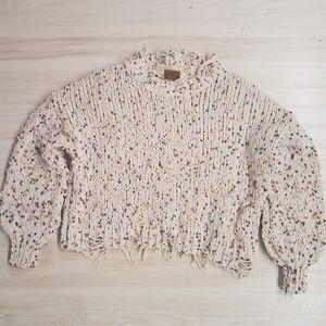 POL women's distressed sweater size S